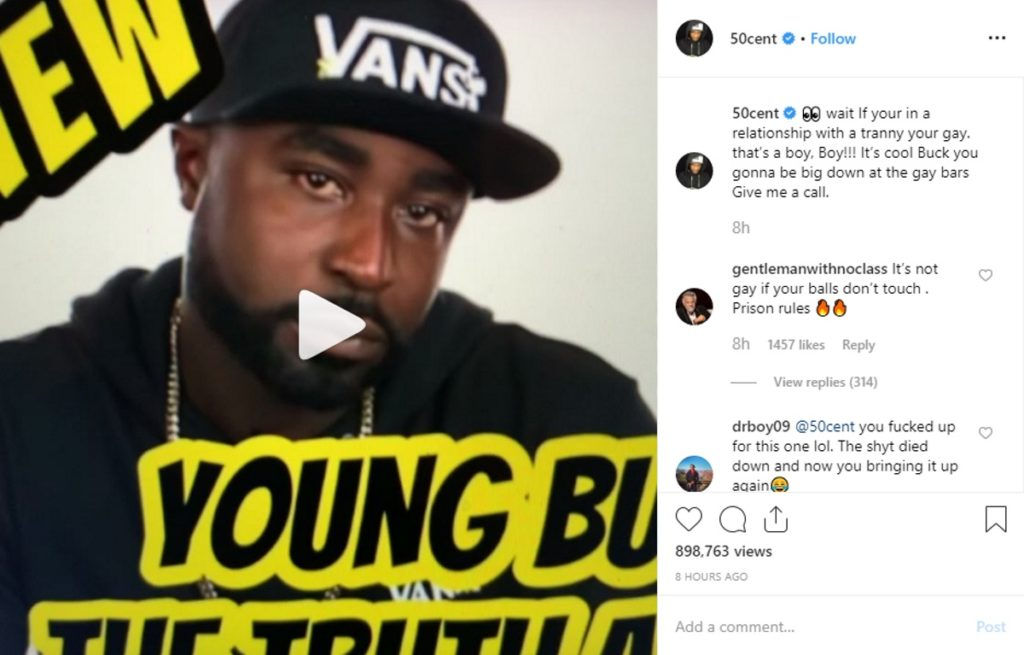 50 Cent posts transphobic meme and he really needs to delete his account