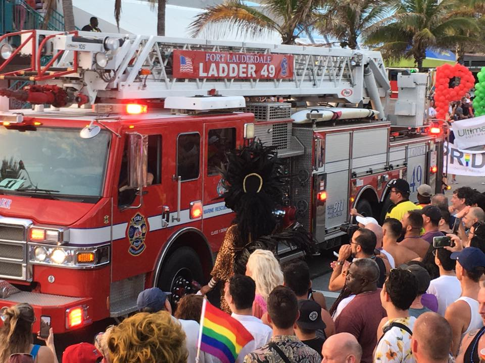 A fire truck takes part in Fort Lauderdale Gay Pride, where two people were stabbed on Sunday.