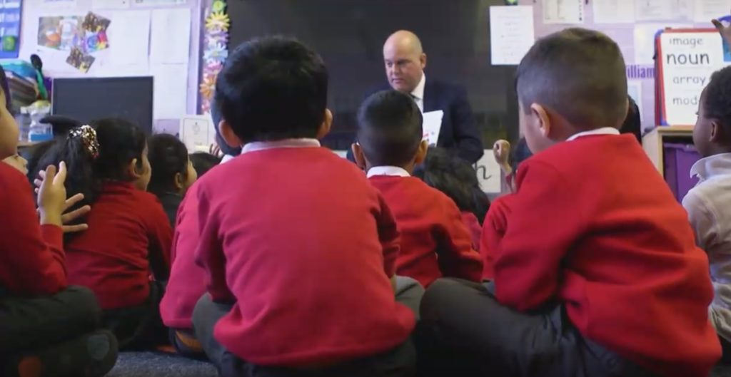 Andrew Moffat teaching his No Outsiders programme to students in Birmingham