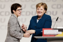Annegret Kramp-Karrenbauer is congratulated by Angela Merkel after receiving the most votes to become the next leader of the German Christian Democrats (CDU) at a federal congress of the CDU on December 7, 2018 in Hamburg, Germany.