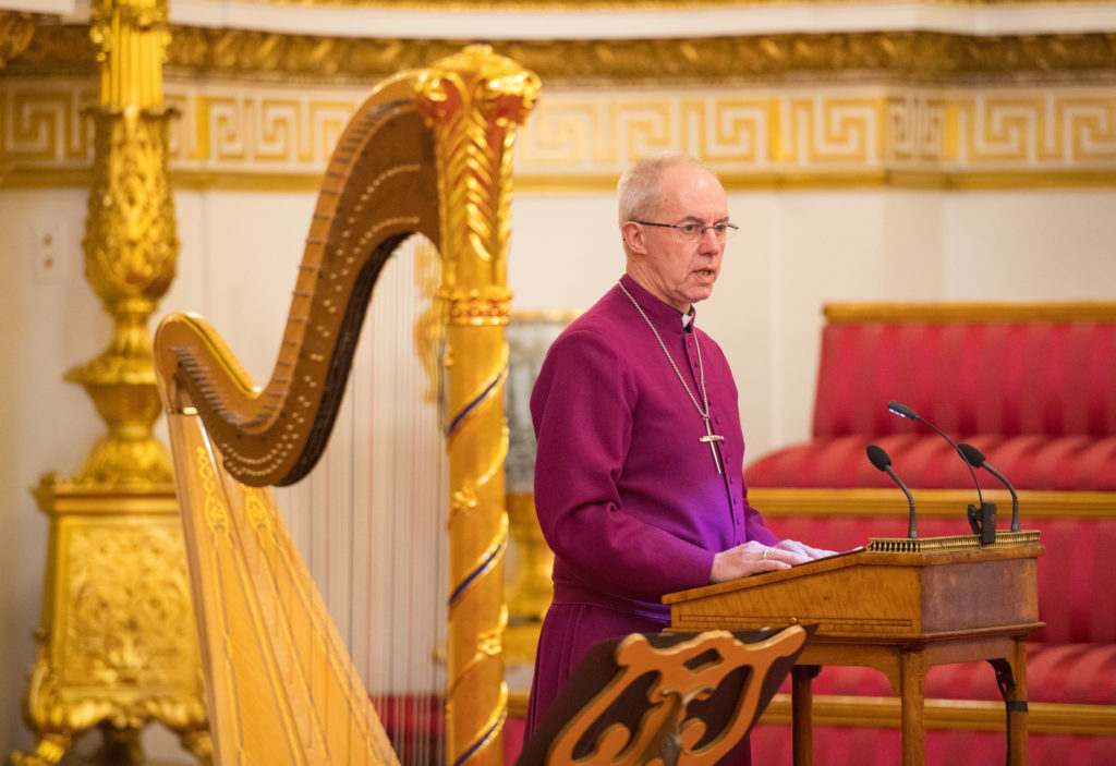Archbishop of Canterbury Justin Welby makes a speech during a reception to mark the 50th Anniversary of the investiture of The Prince of Wales at Buckingham Palace in London on March 5, 2019.
