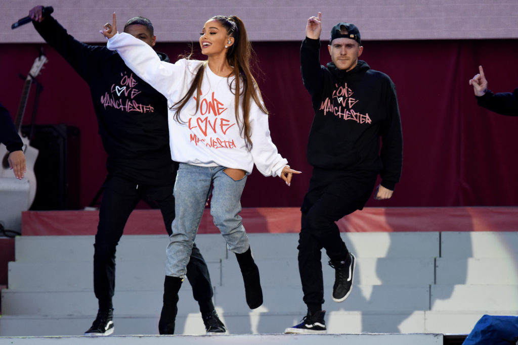 Ariana Grande performs on stage on June 4, 2017 in Manchester, England.