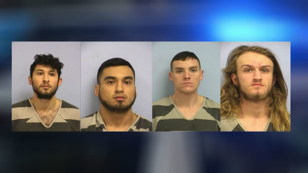 Frank Macias, 22, Miguel Macias, 20, Quinn O'Connor, 19, and Kolby Monell, 21 were arrested over the attack
