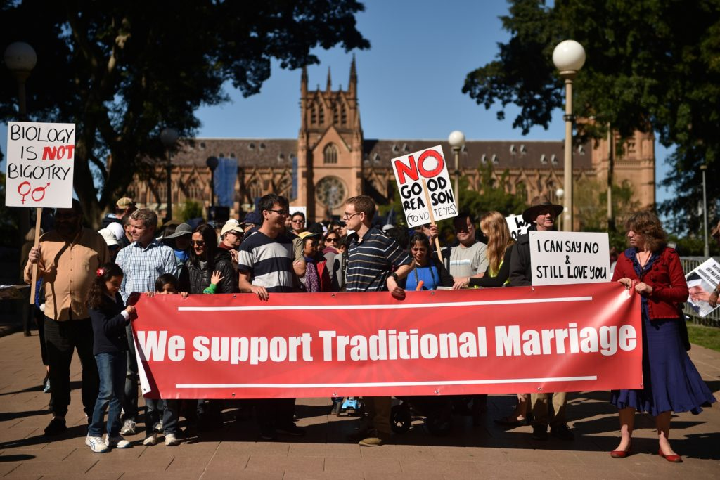 Anti-gay marriage campaigners rally in Sydney in 2017, ahead of the Australia equal marriage vote.