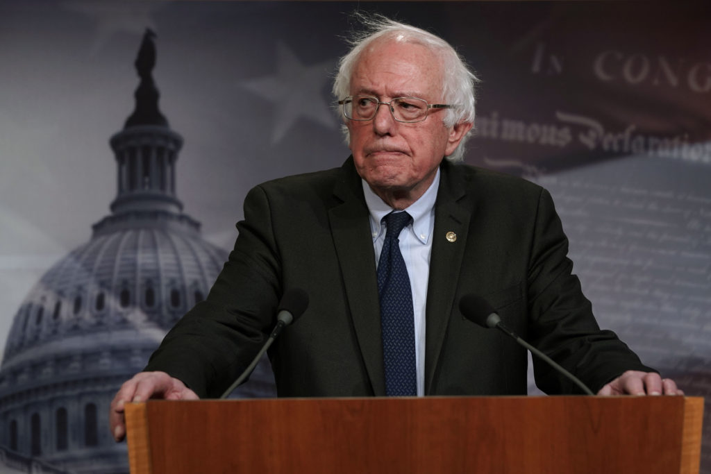 US Senator Bernie Sanders speaks during a news conference on prescription drugs January 10, 2019 at the Capitol in Washington, DC.