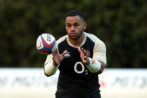Billy Vunipola catches the ball during the England training session held at Pennyhill Park on March 13, 2019 in Bagshot, England.