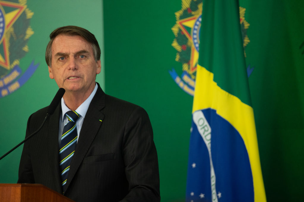 Brazilian President Jair Bolsonaro speaks with press after meeting with venezuelan opposition leader and self-declared iterim president Juan Guaido at Palace Itamaraty on February 28, 2019 in Brasília, Brazil