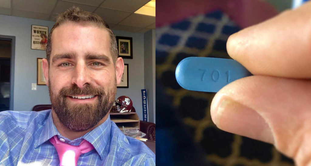 Brian Sims smiling / Fingers holding a PReP pill