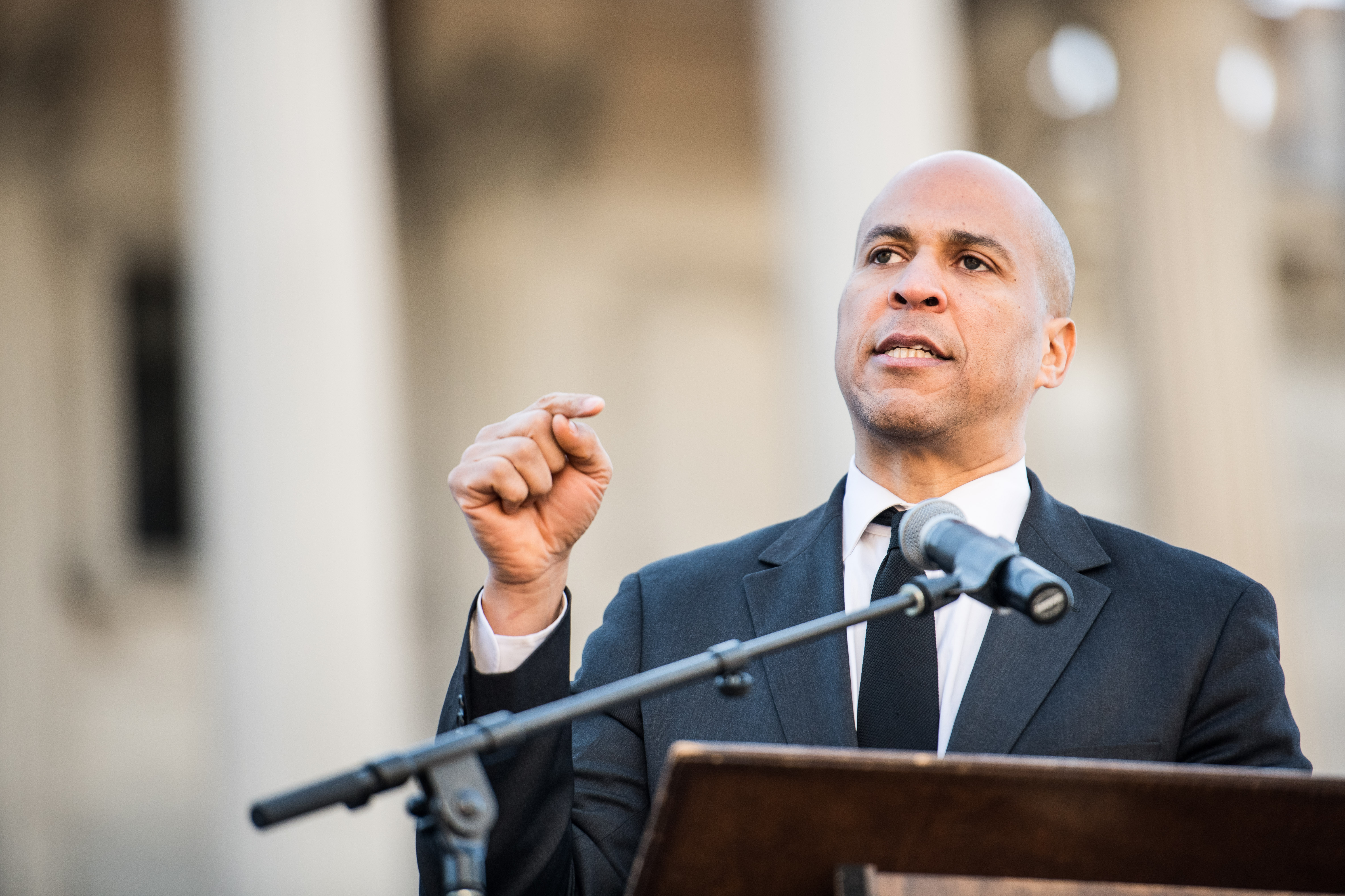 Senator Cory Booker (D-NJ) addresses the crowd during the annual Martin Luther King Jr. Day at the Dome event on January 21, 2019 in Columbia, South Carolina.