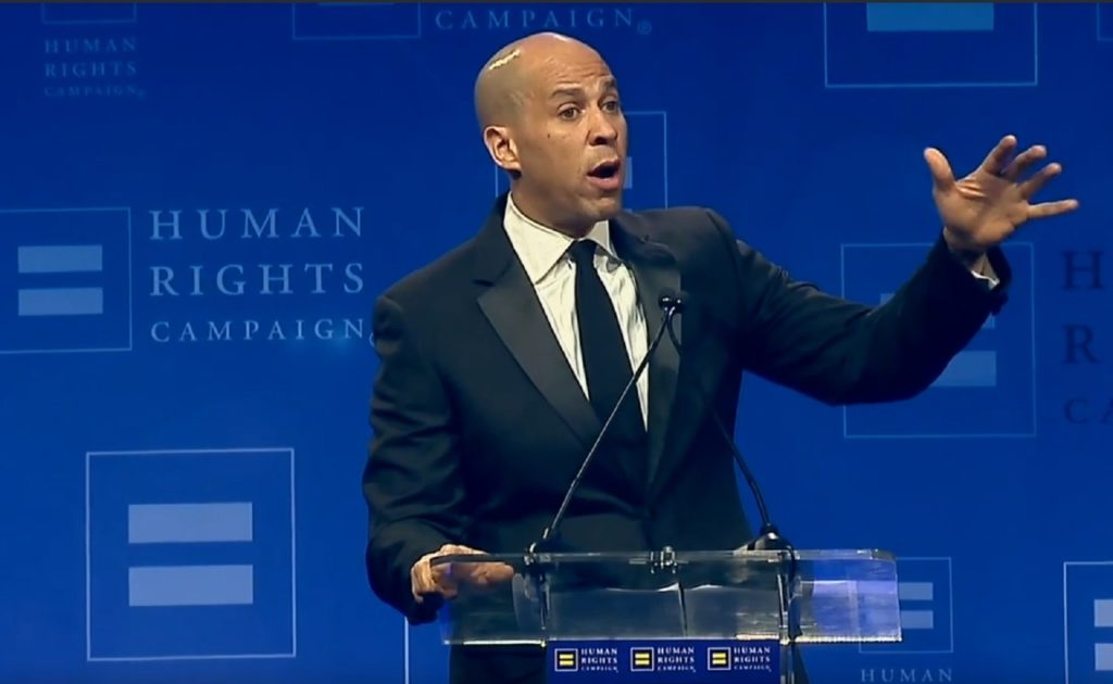 Cory Booker speaks to the Human Rights Campaign