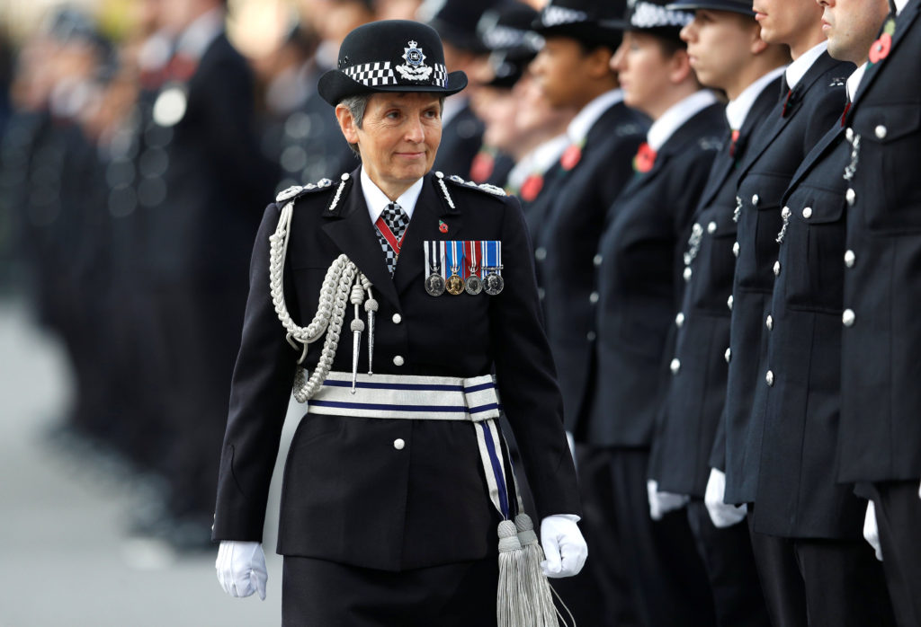 Metropolitan Police Commissioner Cressida Dick inspect police cadets at the Metropolitan Police Service Passing Out Parade to mark the graduation of 182 new recruits from the Metropolitan Police Academy, at Hendon, northwest London on November 3, 2017.