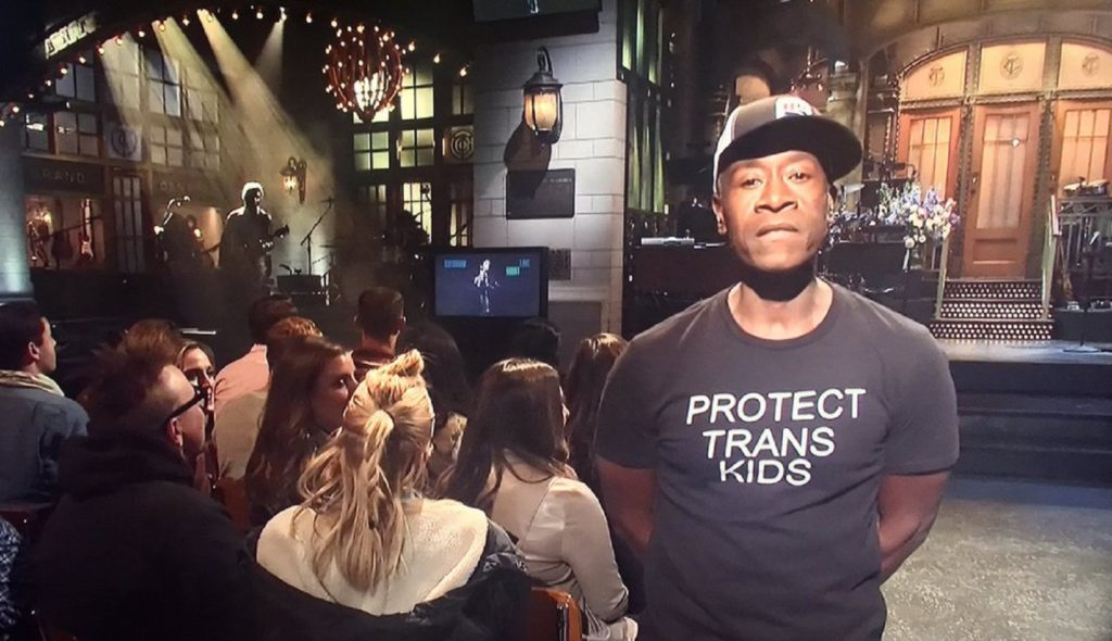 Don Cheadle wore a 'protect trans kids' t-shirt