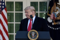 US President Donald Trump makes a statement announcing that a deal has been reached to reopen the government through Feb. 15 during an event in the Rose Garden of the White House January 25, 2019 in Washington, DC.