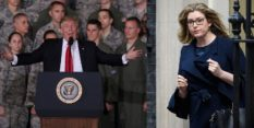 L - US President Donald Trump speaks to Air Force personnel during an event September 15, 2017 at Joint Base Andrews in Maryland. R - UK equalities minister Penny Mordaunt