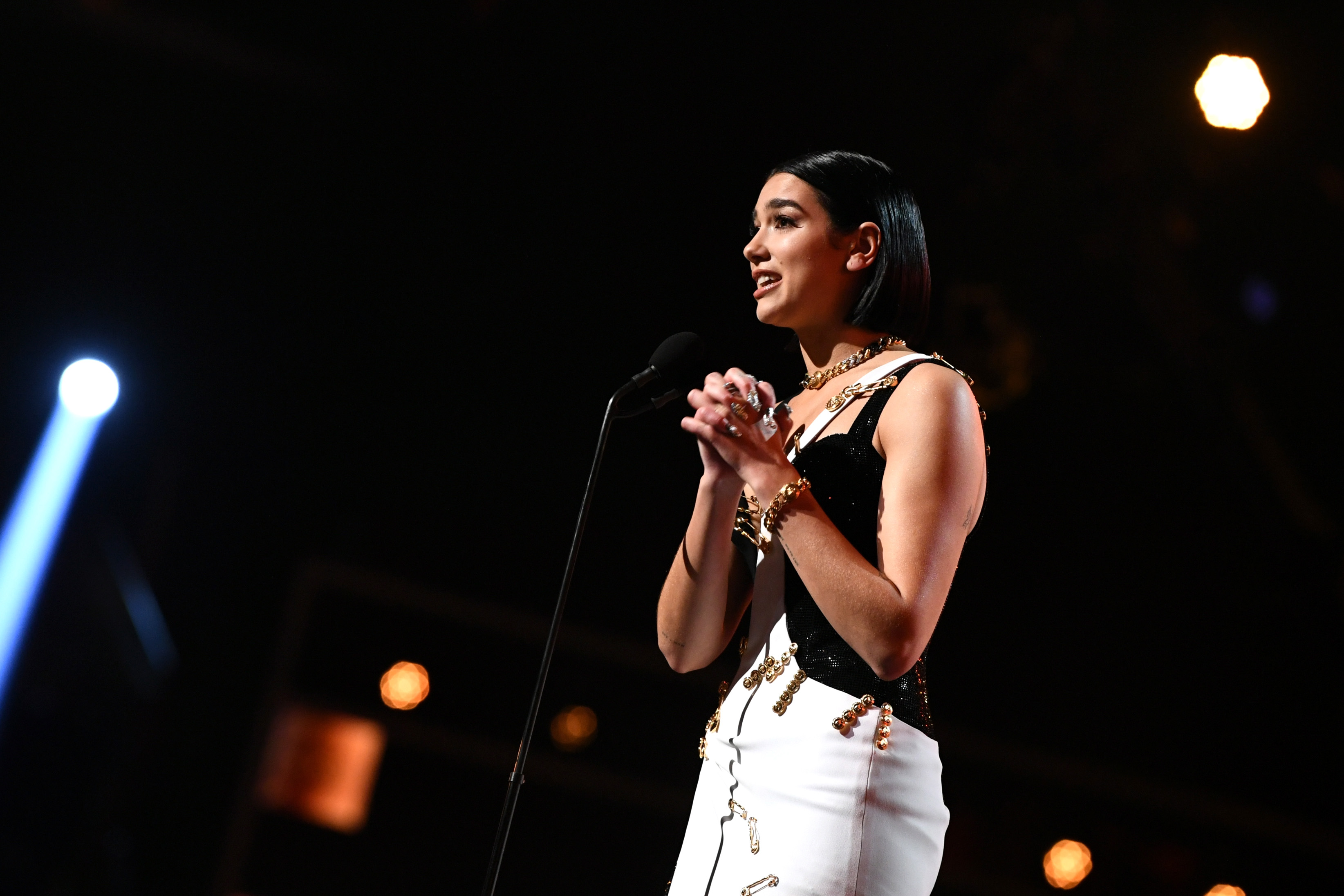 Dua Lipa, who has come out in support of the Brunei boycott, speaks onstage during the 61st Annual GRAMMY Awards at Staples Center on February 10, 2019 in Los Angeles, California.