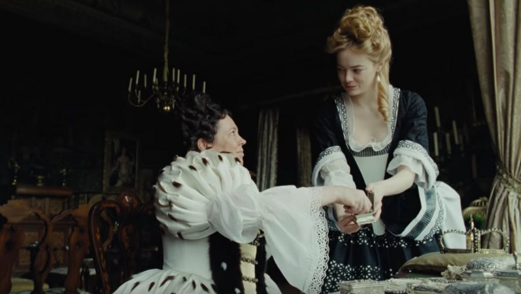 Olivia Colman and Emma Stone in The Favourite, which is about Queen Anne and her two royal advisors, who fight for her attention