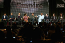 Empire actors Bryshere Gray, Jussie Smollett; Trai Byers, Taraji P. Henson, Terrence Howard, creators Lee Daniels and Danny Strong and executive producers Ilene Chaiken and Francie Calfo speak onstage during the 'Empire' panel discussion in 2015.