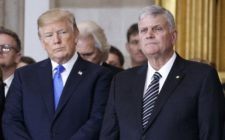 President Donald Trump with Franklin Graham during a ceremony as the late evangelist Billy Graham lies in repose at the U.S. Capitol, on February 28, 2018 in Washington, DC.