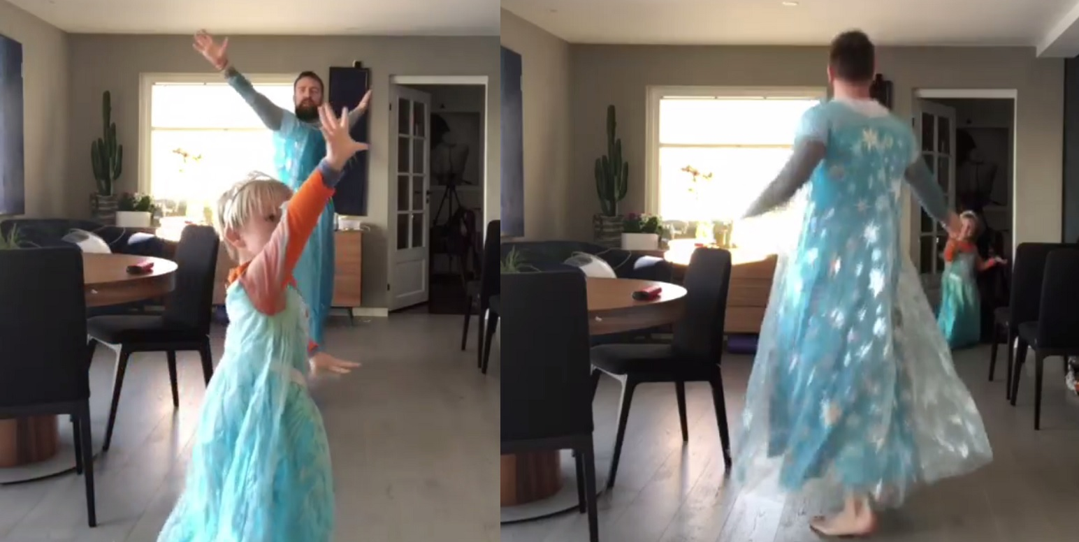 "Ørjan Burøe dances to Frozen track ""Let It Go"" with son Dexter in the viral video"
