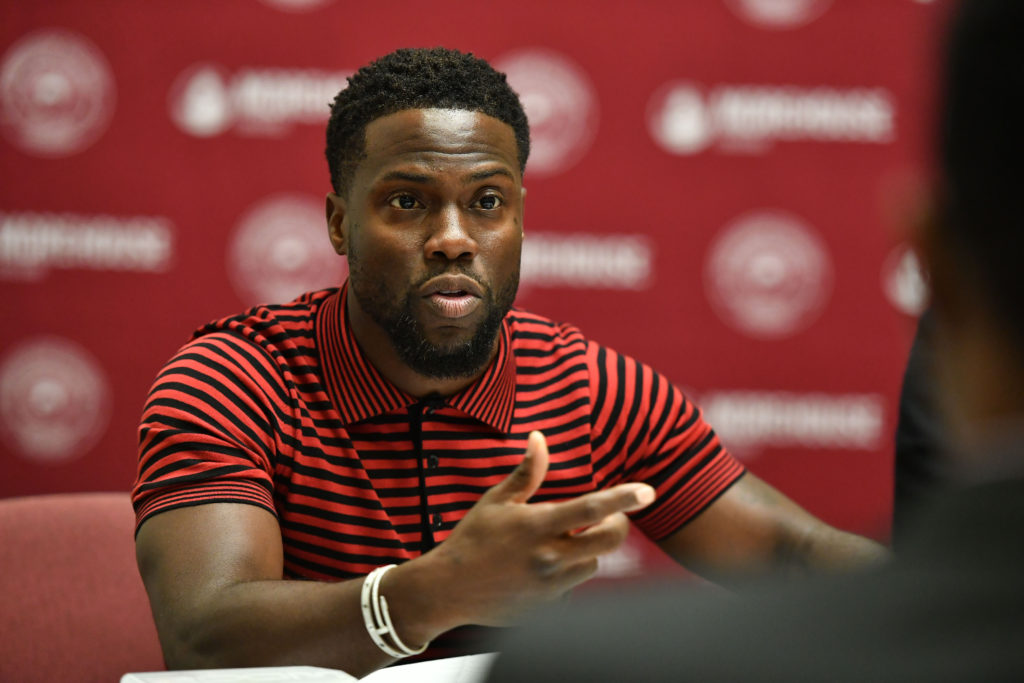 "Kevin Hart speaks during during the ""Night School"" Atlanta University Center press junket at Morehouse College on September 11, 2018 in Atlanta, Georgia."