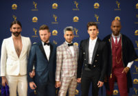 Photo of the queer Eye Fab Five Jonathan Van Ness, Bobby Berk, Tan France, Antoni Porowski, and Karamo Brown attend the 70th Emmy Awards at Microsoft Theater on September 17, 2018 in Los Angeles, California.