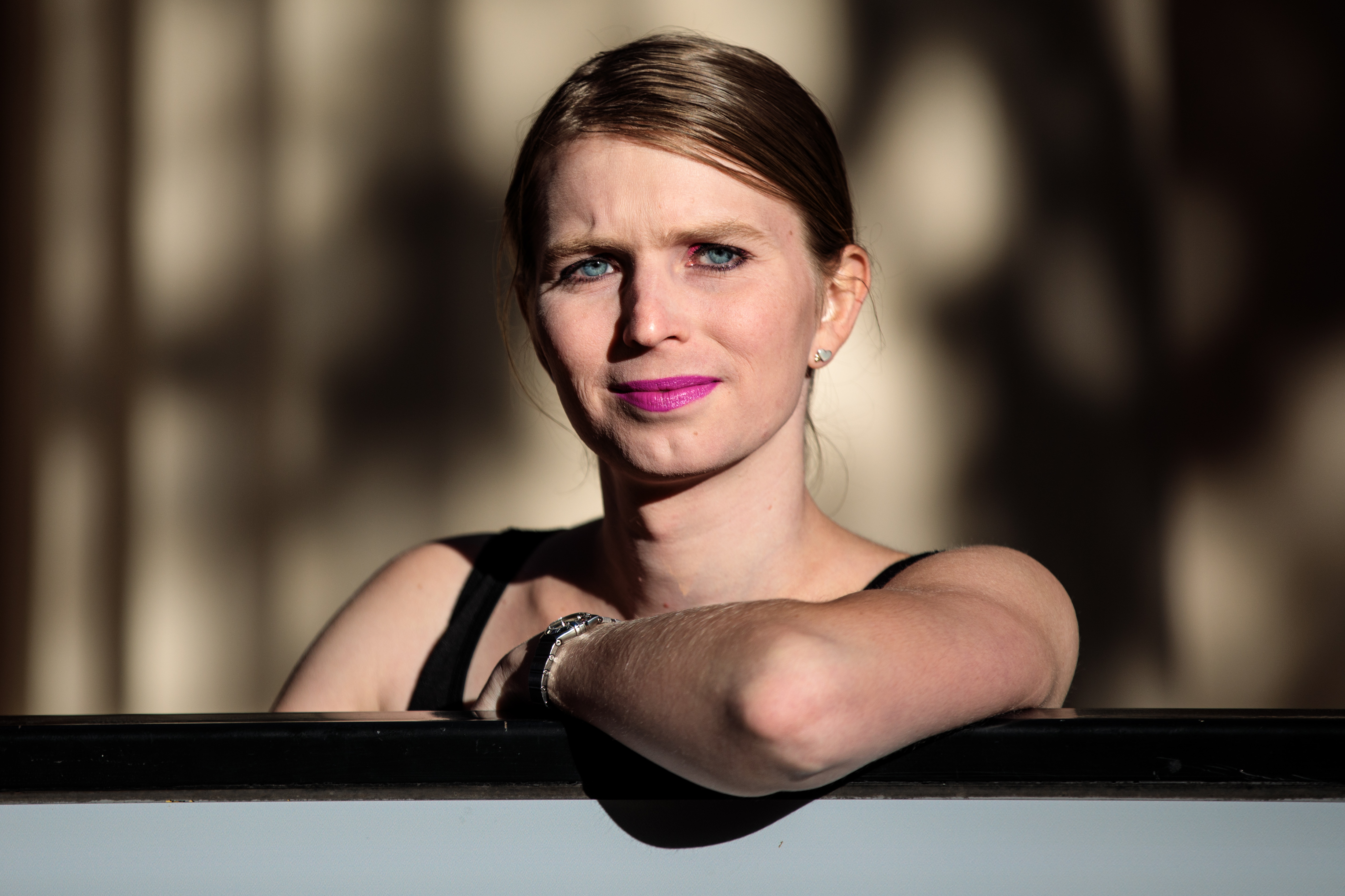 Former American soldier and whistleblower Chelsea Manning poses during a photo call outside the Institute Of Contemporary Arts (ICA) ahead of a Q&A event on October 1, 2018 in London, England.