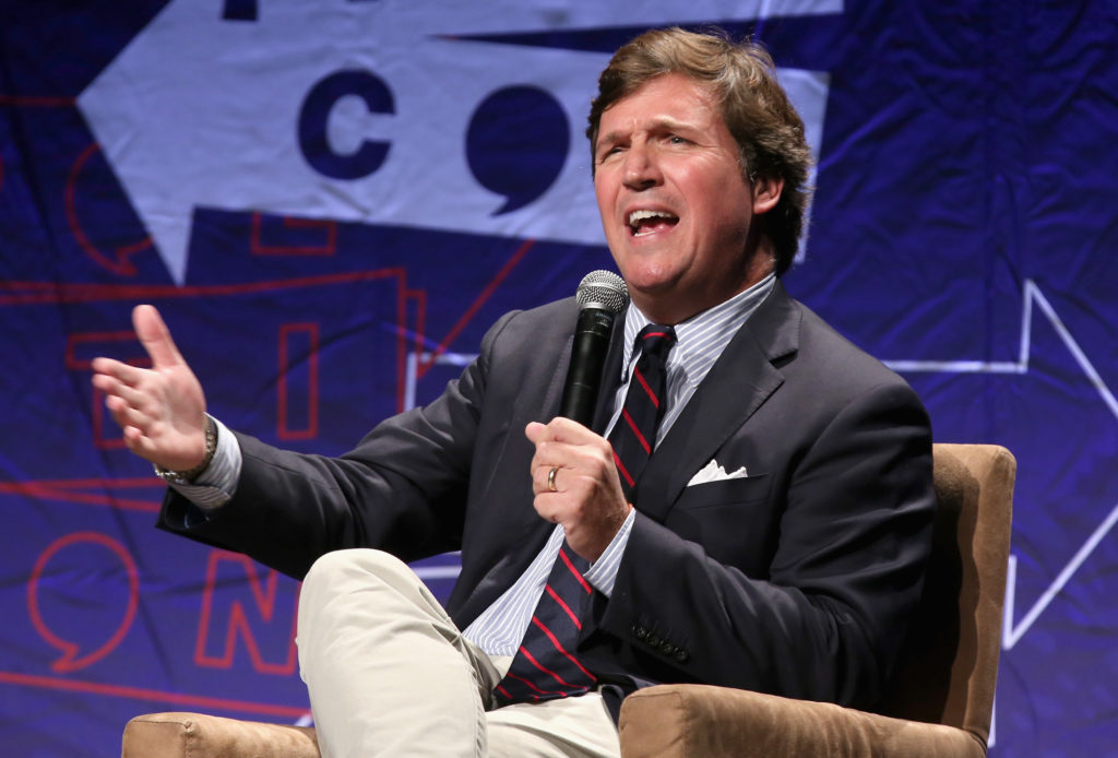 Tucker Carlson speaks onstage during Politicon 2018 at Los Angeles Convention Center on October 21, 2018 in Los Angeles, California.