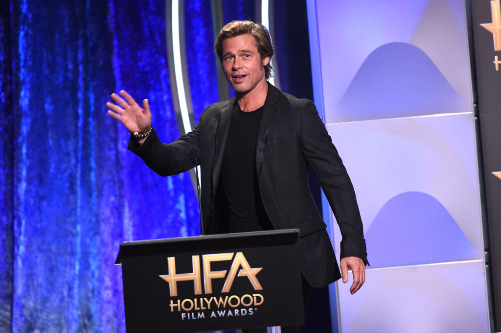 LGBT ally Brad Pitt speaks onstage during the 22nd Annual Hollywood Film Awards at The Beverly Hilton Hotel on November 4, 2018 in Beverly Hills, California. (Photo by Kevin Winter/Getty Images for HFA)