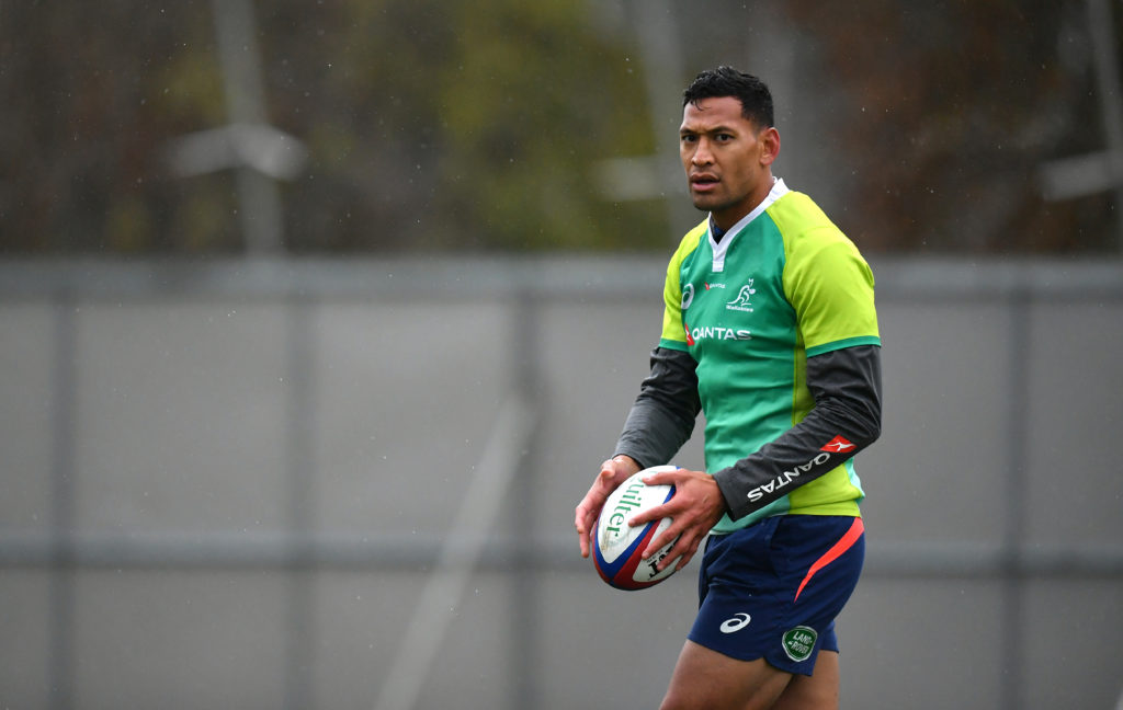 A photo of Israel Folau, the player rugby icon Ian Roberts condemned for making anti-gay remarks as harmful to LGBT+ youth.
