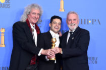 Golden Globes Best Actor in a Motion Picture Drama for 'Bohemian Rhapsody' winner Rami Malek (C) with Brian May and Roger Taylor of Queen pose in the press room during the 76th Annual Golden Globe Awards at The Beverly Hilton Hotel on January 6, 2019 in Beverly Hills, California.