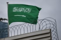 A Saudi Arabia flag flies on the top of their consulate building on January 10, 2019 in Istanbul.