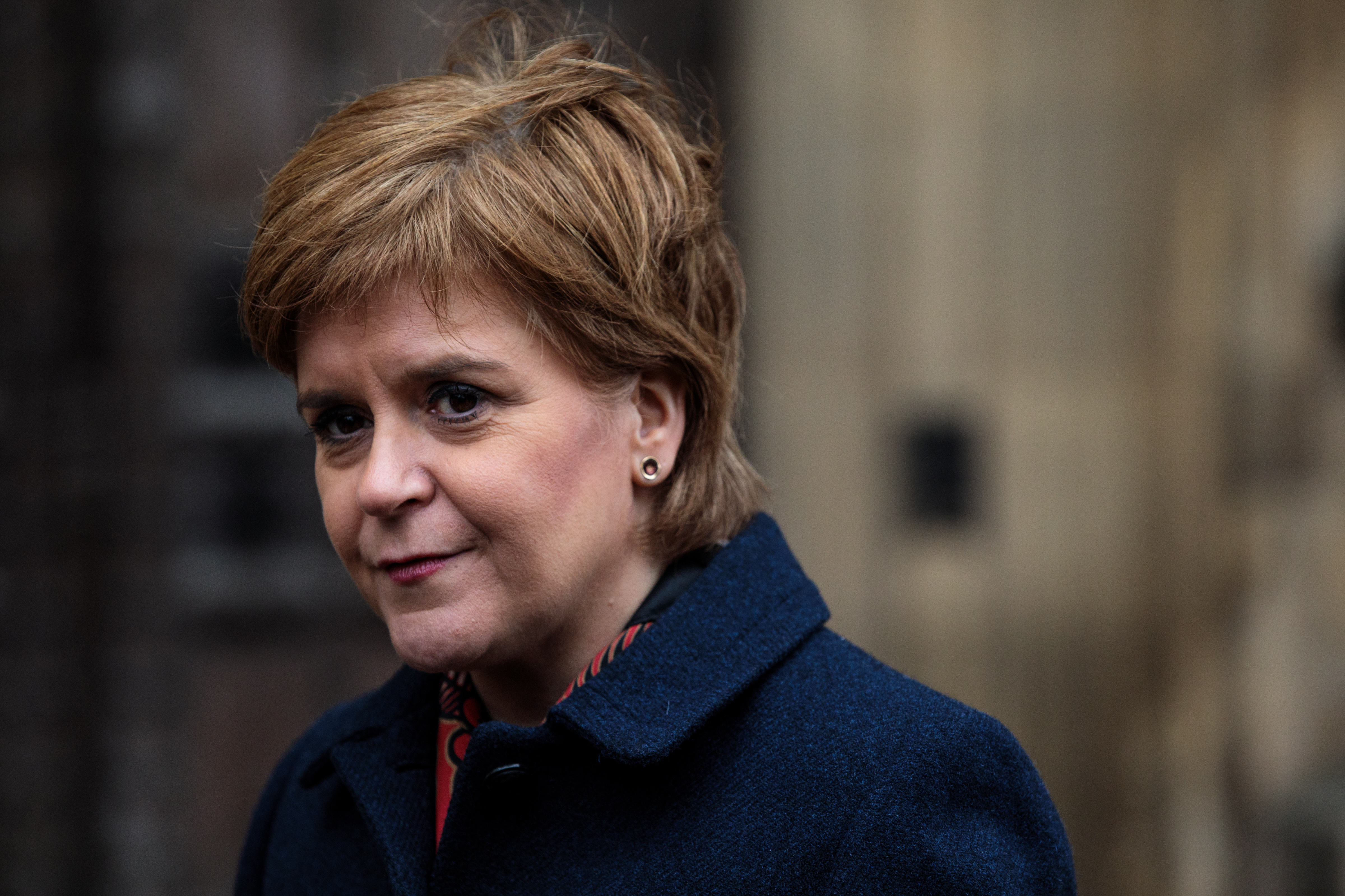 Scottish First Minister Nicola Sturgeon, who has defended transgender rights, speaks to media outside the Houses of Parliament on January 16, 2019 in London, England.