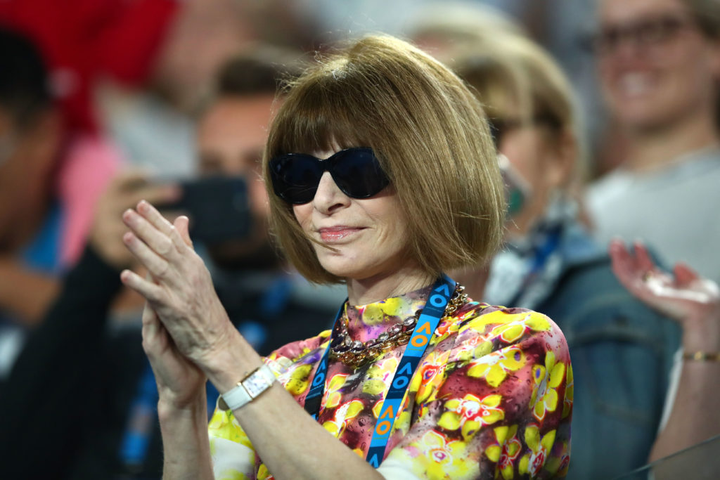 Anna Wintour watches a game at the 2019 Australian Open, where she called out Margaret Court and the PM Scott Morrison's LGBT rights record.