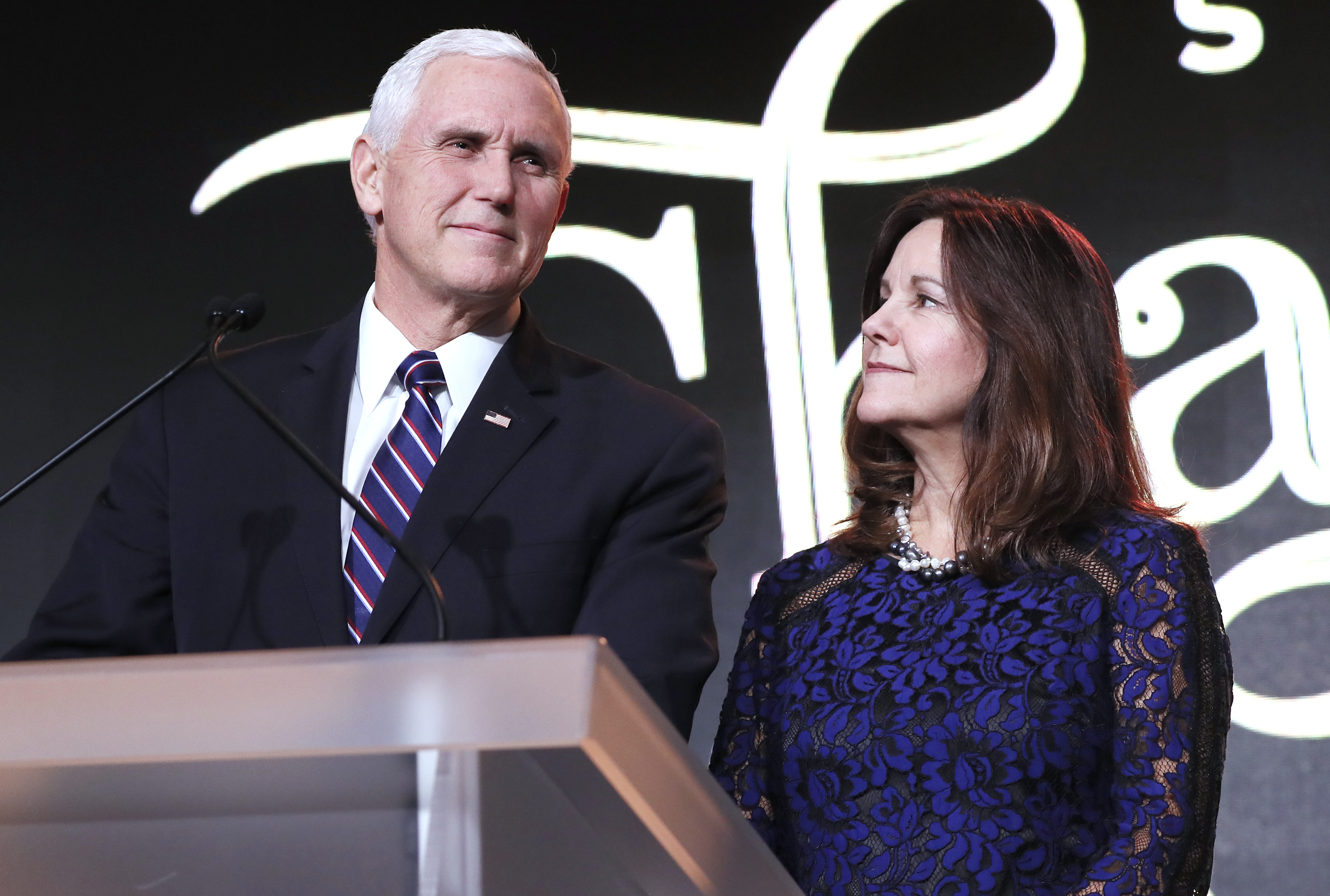 Vice President Mike Pence and Karen Pence speak at the Save the Storks 2nd Annual Stork Charity Ball at the Trump International Hotel.