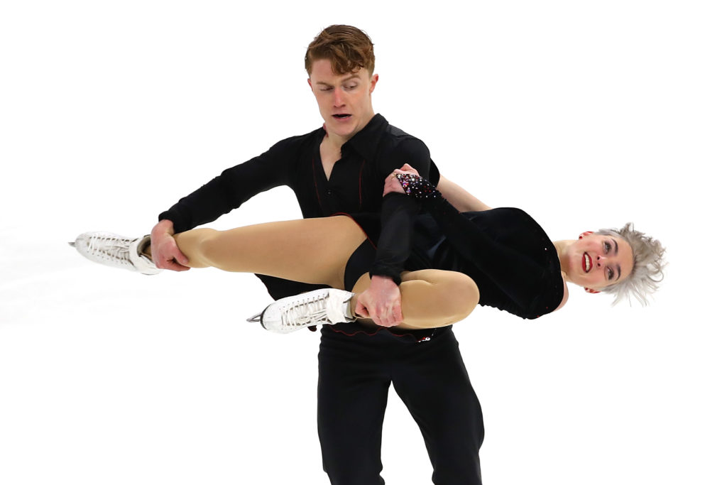 Karina Manta and Joseph Johnson compete in the Championship Rhythm Dance during the 2019 US Figure Skating Championships at Little Caesars Arena.