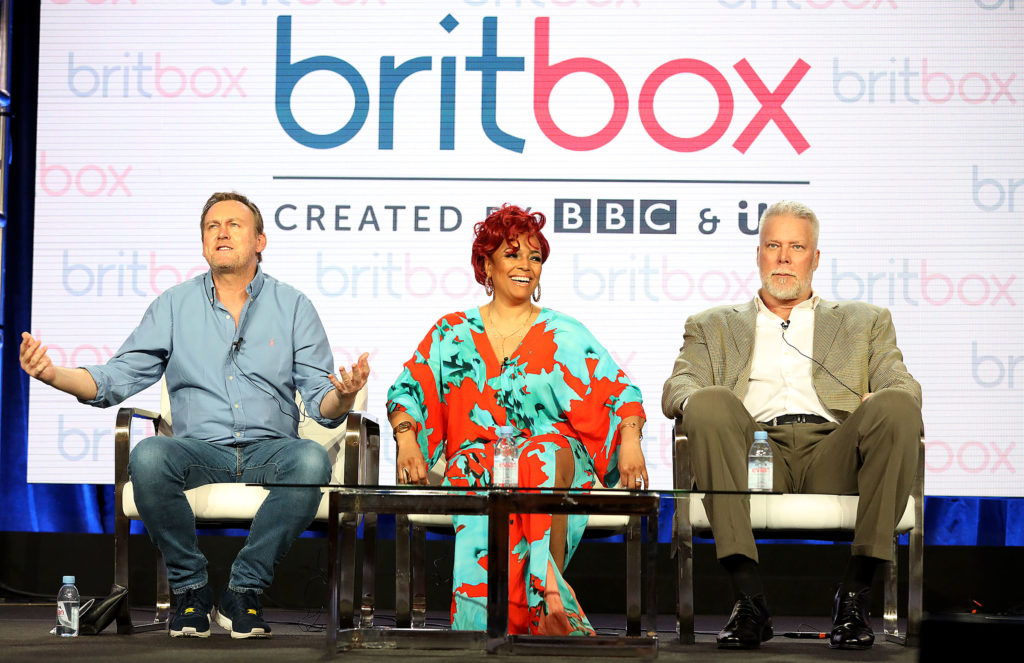 """BritBox: (L-R) Philip Gienister, Kim Fields, and Kevin Nash of the television show """"Living The Dream"""" speak during the 2019 Britbox segment of the 2019 Winter Television Critics Association Press Tour at The Langham Huntington, Pasadena on February 09, 2019 in Pasadena, California."""