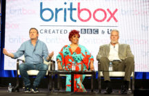 "BritBox: (L-R) Philip Gienister, Kim Fields, and Kevin Nash of the television show ""Living The Dream"" speak during the 2019 Britbox segment of the 2019 Winter Television Critics Association Press Tour at The Langham Huntington, Pasadena on February 09, 2019 in Pasadena, California."