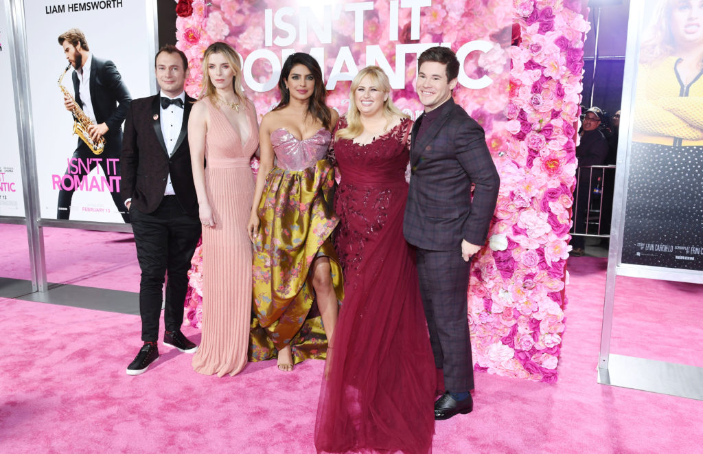 Brandon Scott Jones, Betty Gilpin, Priyanka Chopra, Rebel Wilson and Adam Devine attend the premiere of Isn't It Romantic, which features a gay actor playing a gay character.