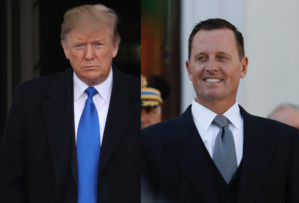 Combined picture of President Trump and US ambassador Richard Allen Grenell, who is reportedly leading a push to decriminalise homosexuality around the world.