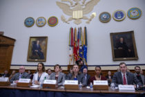 "Transgender troops Navy Lt. Commander Blake Dremann, Army Capt. Alivia Stehlik, Army Capt. Jennifer Peace, Army Staff Sgt. Patricia King, Navy Petty Officer 3rd Class Akira Wyatt, and Dr. Jesse M. Ehrenfeld, chair-elect of the American Medical Association Board of Trustees speak at the Military Personnel Subcommittee hearing on ""Transgender Service Policy."""