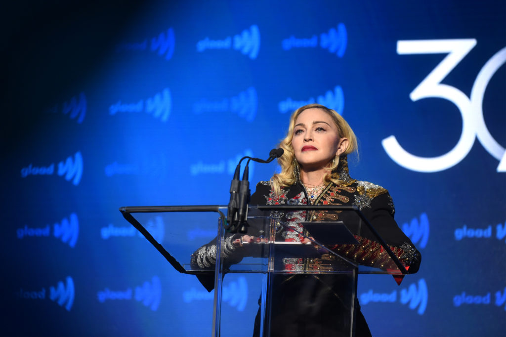 Madonna speaks onstage during the 30th Annual GLAAD Media Awards New York at New York Hilton Midtown on May 04, 2019 in New York City.