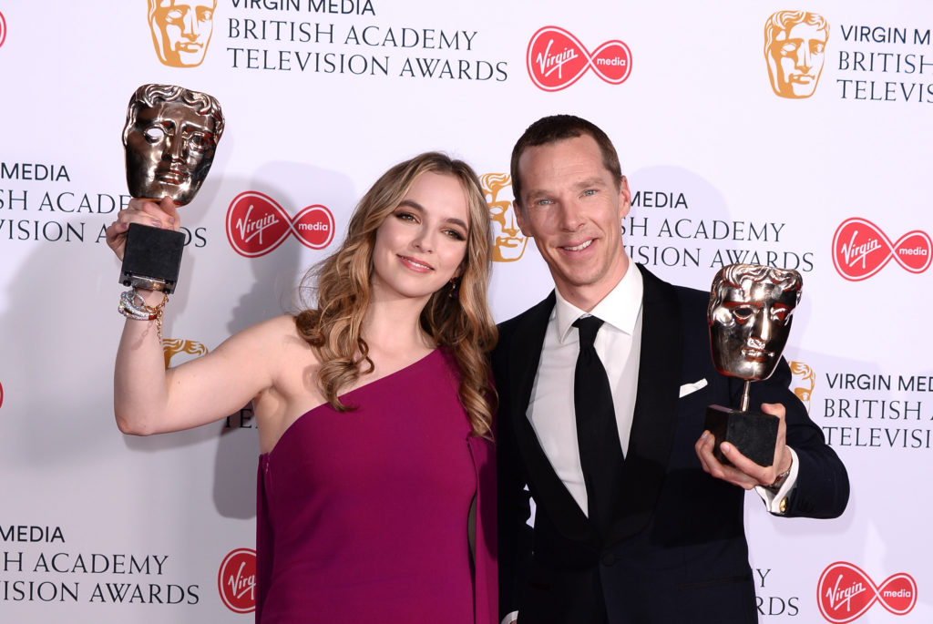 Jodie Comer, winner of the Best Leading Actress Award for 'Killing Eve' and Benedict Cumberbatch, winner of the Best Leading Actor Award for 'Patrick Melrose' in the Press Room at the BAFTA TV Awards at The Royal Festival Hall on May 12, 2019 in London, England.