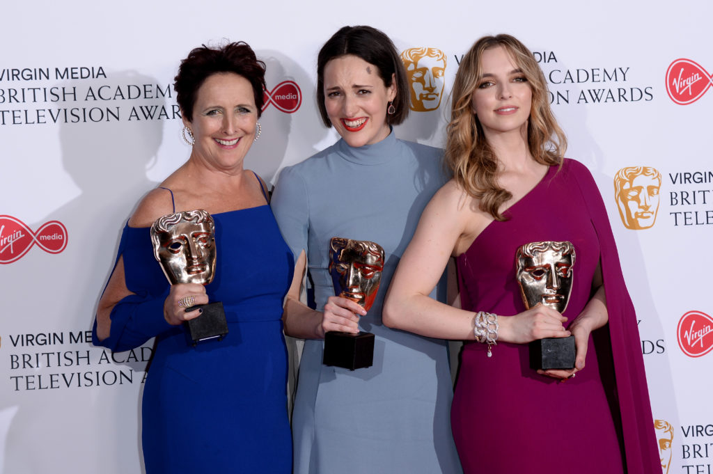 Bafta TV Awards winners: Killing Eve's supporting actress Fiona Show, writer Phoebe Waller-Bridge and leading actress Jodie Comer.