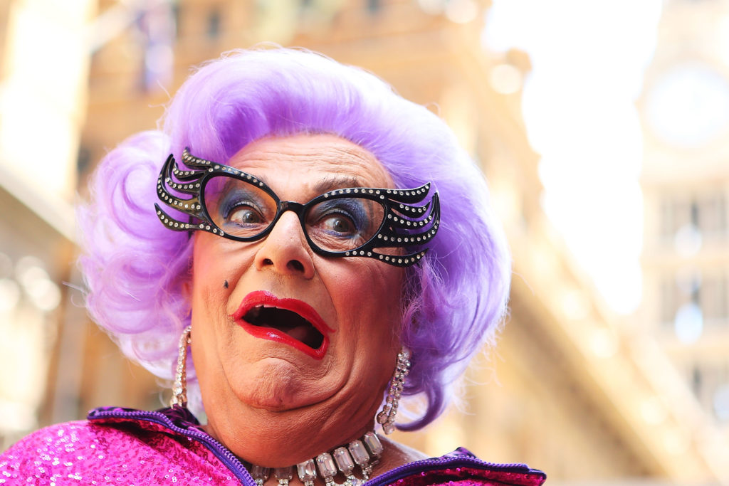 Dame Edna participates with her fans in a Zumba fitness class at Martin Place on January 15, 2013 in Sydney, Australia.