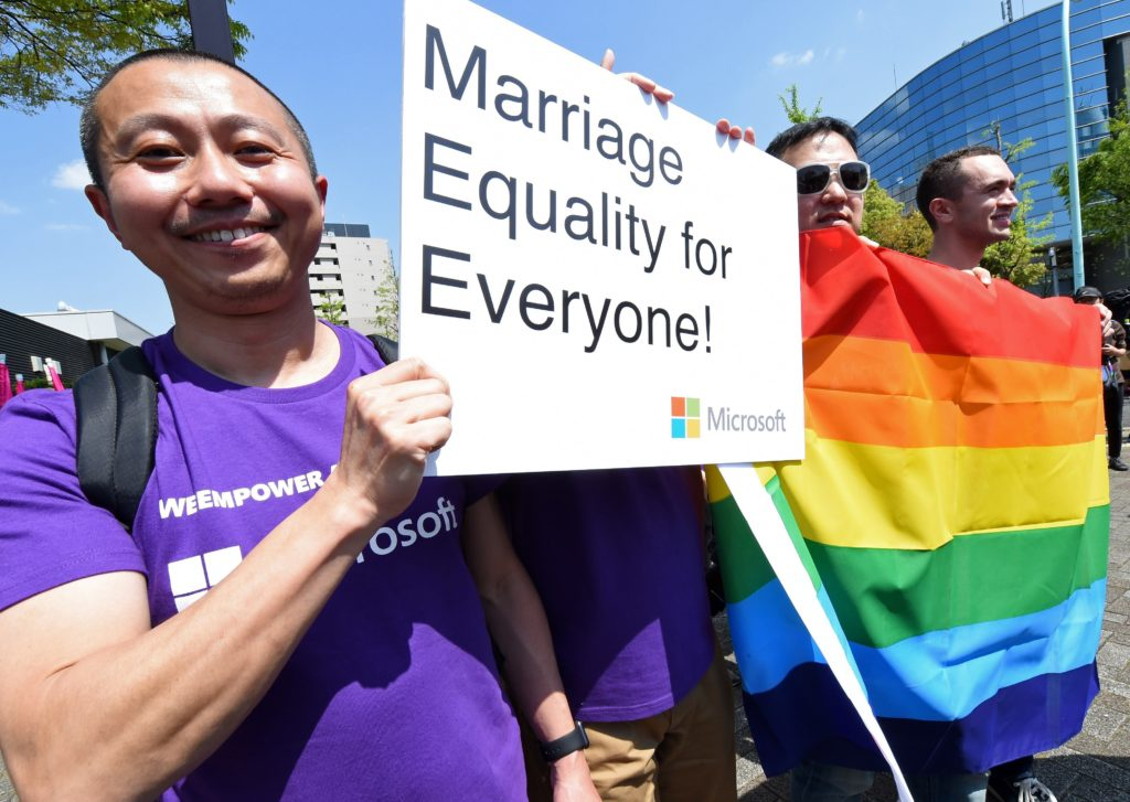 Pride participants in Tokyo, Japan, call for same-sex marriage