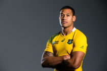 In this handout image provided by ASICS, Israel Folau poses at the 2015 Australian Wallabies Rugby World Cup jersey launch at Allianz Stadium on June 10, 2015 in Sydney, Australia.