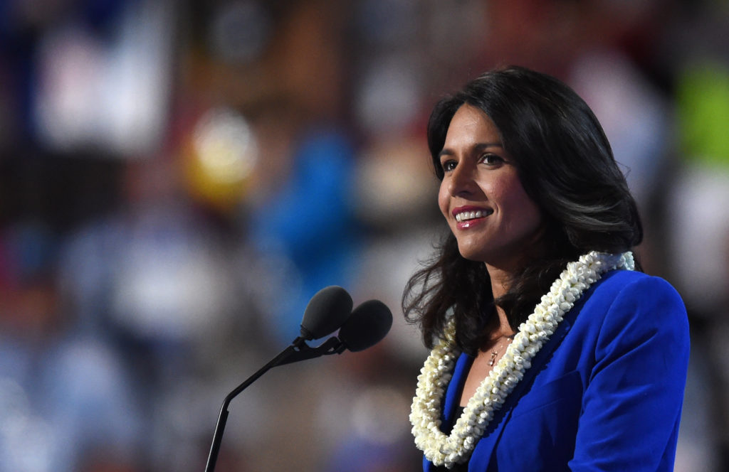 US Representative Tulsi Gabbard speaks during Day 2 of the Democratic National Convention at the Wells Fargo Center in Philadelphia.