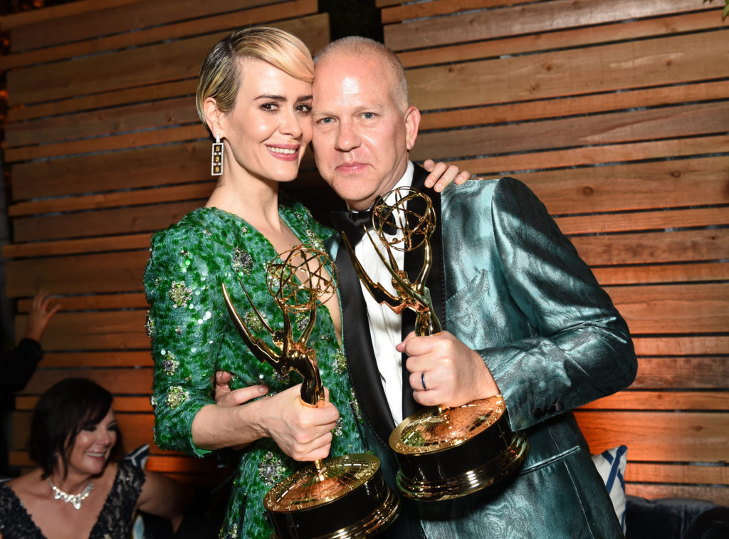 Actors Sarah Paulson and Ryan Murphy attend an Emmy afterparty.