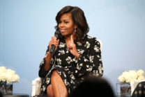"Former First Lady of the United States Michelle Obama speaks during a panel discussion at Glamour Hosts ""A Brighter Future: A Global Conversation on Girls' Education"" with First Lady Michelle Obama at The Newseum on October 11, 2016 in Washington, DC."