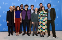André Aciman, who has unveiled the cover of Call me By Your Name's sequel Find Me, poses with cast and producers of 'Call Me by Your Name' during the 67th Berlinale International Film Festival Berlin at Grand Hyatt Hotel on February 13, 2017 in Berlin, Germany.